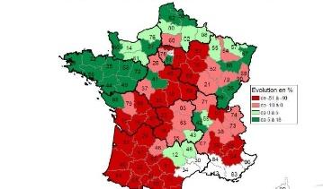 Evolution des livraisons de lait - La production de lait a diversement progressé selon les régions