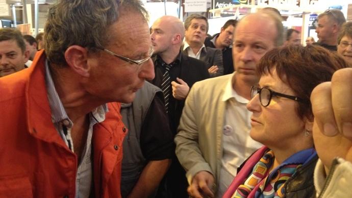 Vifs échanges entre un éleveur del'Apli et Christiane Lambert, première vice-présidente de la Fnsea.