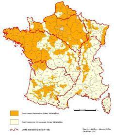 Carte des zones vulnérables en France
