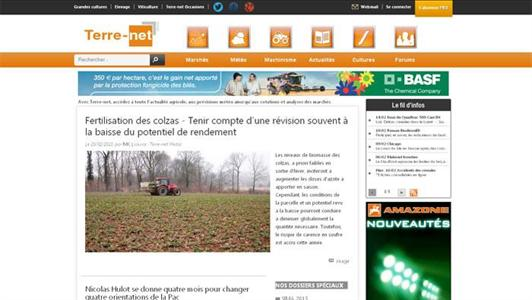 Capture d'cran de la nouvelle formule de Terre-net.fr 2013