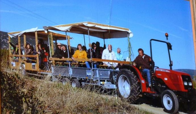 Au départ, Jérôme le vigneron a démarré en accrochant des remorques bâchées à un tracteur