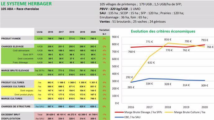 Résultats économiques 2020 d'un système bovin viande herbager des Hauts-de-France