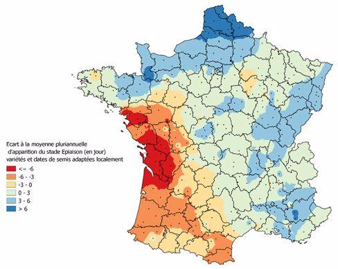 Ecart (en jours) d'apparition du stade épiaison du blé tendre en 2021 par rapport à la moyenne pluriannuelle 2001-2020 - variétés et dates de semis adaptées localement