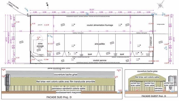Plan bâtiment tunnel pour les génisses des Trinottières