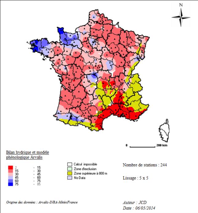 Carte 1 : Etat de réserve en eau estimée au 10/05/2014, pour une culture de blé tendre sur un sol de RU=100 mm