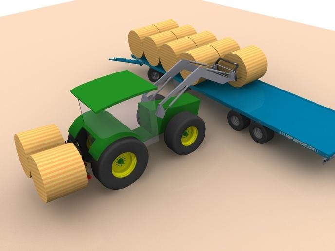 Une fois le chariot à paille chargé, les 4 dents du pique botte remontent à la verticale pour pouvoir atteler la flèche du chariot.