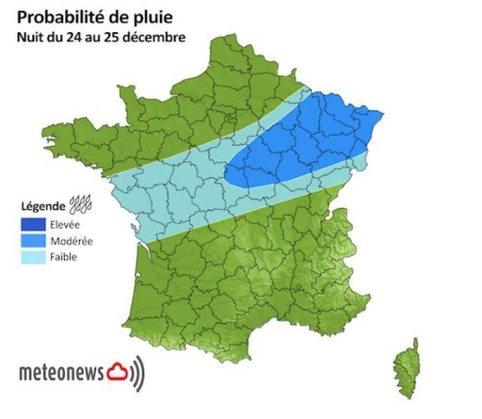 Probabilité de pluie, nuit du 24 au 25 décembre 2014.