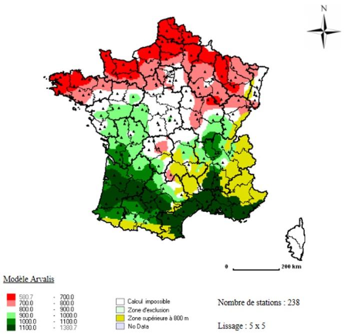 Carte 1 : Etat d'avancement des stades des blés tendres en France (en somme de température depuis l'épiaison au 30/06/2015 ; Apache semé à des dates représentatives localement)