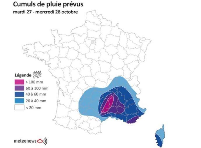 Les pluies attendues dans les 24h sur la France.