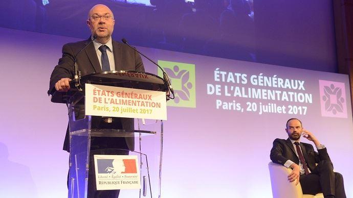 Stéphane Travert, ministre de l'agriculture, et Edouard Philippe, Premier ministre, ont ouvert la journée de lancement des Etats généraux de l'alimentation, jeudi 20 juillet 2017 à Paris.