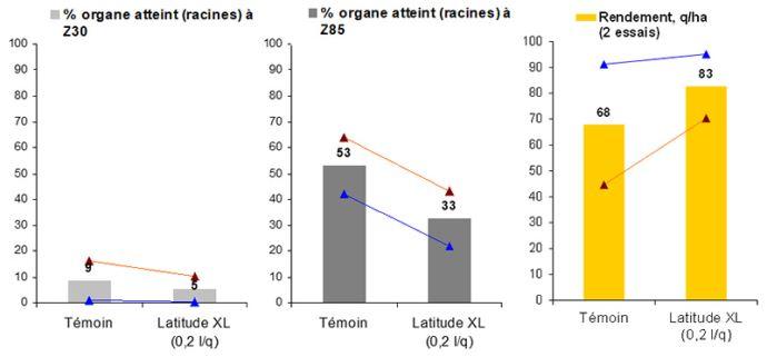 Efficacité de Latitude XL contre le piétin échaudage sur blé tendre