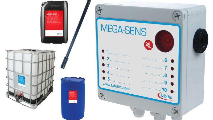 Le nouveau alarme de niveau Mega-Sens surveille jusqu'à 10 bacs avec des produits de nettoyage ou d'autres produits chimique.