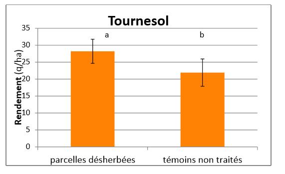 Comparaison des rendements en tournesol entre parcelles désherbées et non désherbées