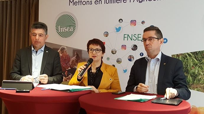 Henri Bies-Pere, Christiane Lambert et Jérôme Despey, jeudi 22 mars 2018 lors d'une conférence de presse de la FNSEA.