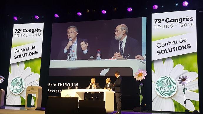 Eric Thiroin, secrétaire général adjoint de la FNSEA, aux côtés de Bernard Chevassus-au-Louis, président de l'ONG Humanité et biodiversité, a présenté les grandes lignes du