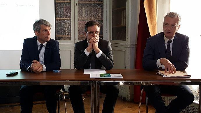 Olivier Allain et Frédéric Descrozaille, députés LREM, et l'ancien ministre de l'agriculture Hervé Gaymard, tous trois membres du comité stratégiques d'Agriculture Stratégies, ont présenté les propositions du think tank pour la réforme de la Pac, mercredi 13 juin 2018.