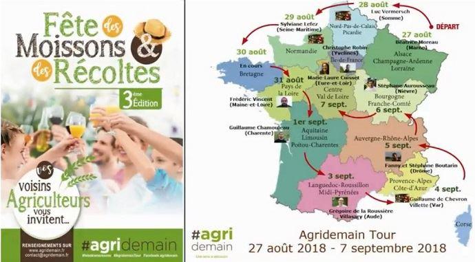 L'AgridemainTour constitue la troisième édition de la Fête des moissons et des récoltes, avec douze étapes prévues jusqu'au 7 septembre 2018.