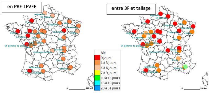 Nombre de jours disponibles, 4 années sur 5, pour le désherbage mécanique d'un blé à l'automne (analyse climatique fréquentielle sur 20 ans). Outils appropriés: herse étrille ou houe rotative