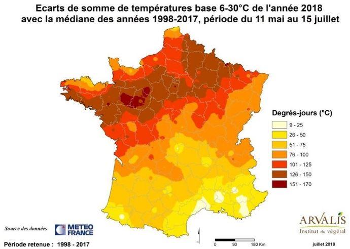La première partie du cycle du maïs a bénéficié d'un fort excédent de températures sur toute la moitié nord