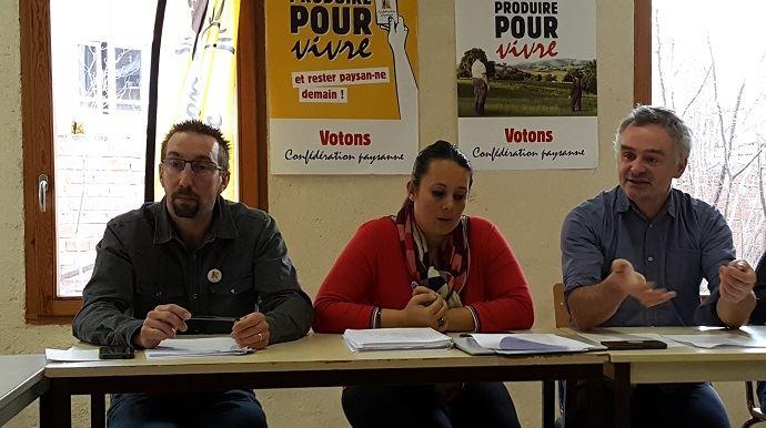 Nicolas Girod, Temanuata Girard et Laurent Pinatel, tous trois membres du secrétariat national de la Confédération paysanne, ont présenté les voeux de leur syndicat mercredi 9 janvier 2019.