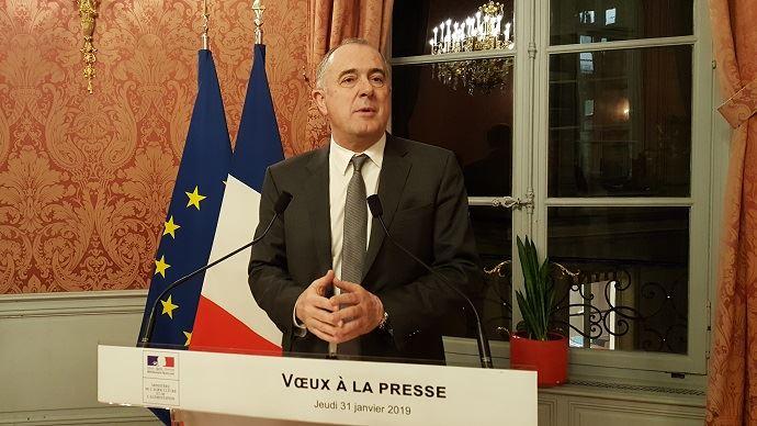 Didier Guillaume, ministre de l'agriculture, lors de la présentation de ses voeux à la presse jeudi 31 janvier 2019.