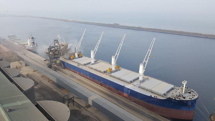 Chargement d'un bateau de céréales au port de Dunkerque