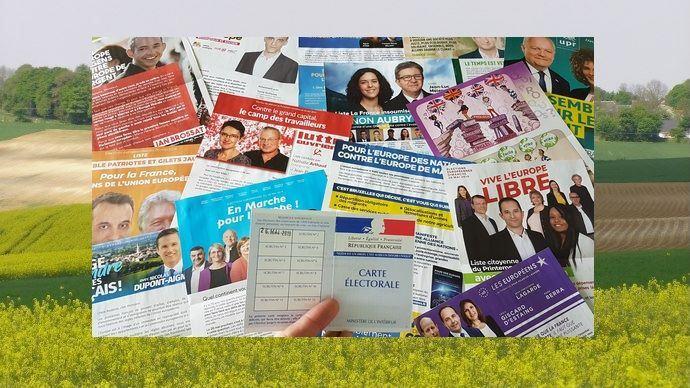 Tracts des élections européennes 2019 devant un paysage agricole