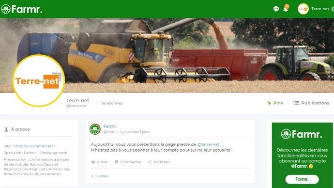 Capture d'écran de la page Terre-net sur le réseau social Farmr.