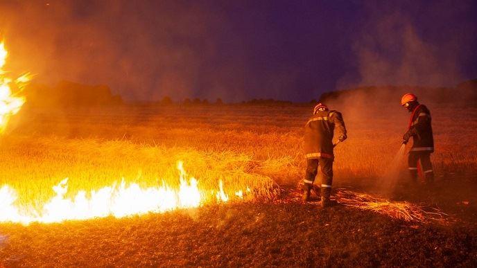 Incendie dans un champ