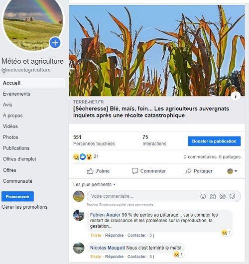 Commentaires sur la sécheresse sur Facebook
