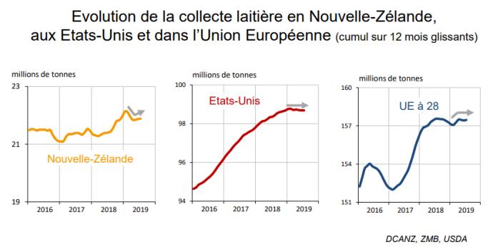 Courbes de la collecte laitière entre 2016 et 2019 en Nouvelle-Zélande, aux État-Unis et dans Union Européenne