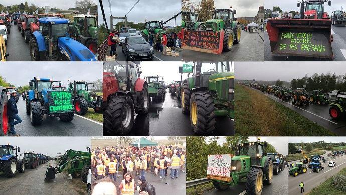 Aux abords de nombreuses villes, les agriculteurs de la FNSEA et de Jeunes agriculteurs bloquent les routes pour dénoncer un sentiment de rejet dont ils s'estiment victimes.
