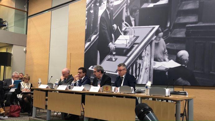 De gauche à droite: Marc Le Fur, Frédéric Descrozaille, Francis Wolff et Didier Le Gac.
