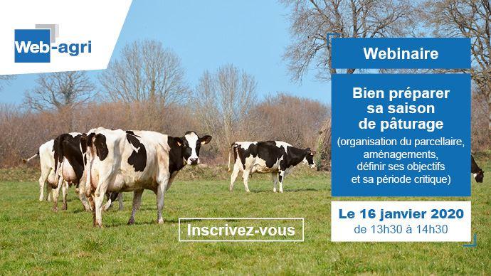 Le webinaire sur la préparation du pâtrage de printemps aura lieu le jeudi 16 janvier à 13h30 sur Web-agri
