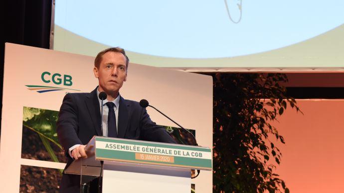 Franck Sander, président de la CGB, lors de l'assemblée générale du 15 janvier