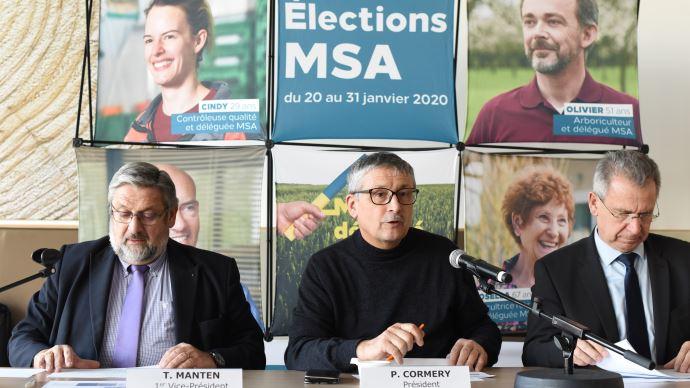 Thierry Manten, Pascal Cormery et François Emmanuel Blanc commentent le résultat des élections MSA 2020