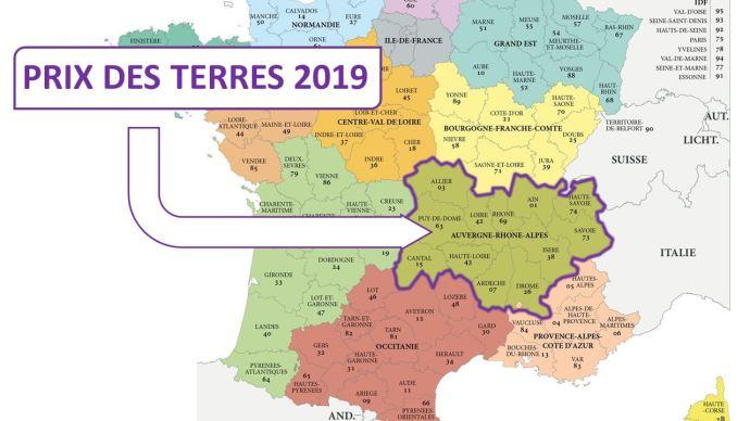 Le prix moyen des terres et prés libres en Auvergne Rhône Alpes est de 4900€/ha en 2019