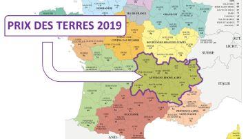 Tous les prix 2019 des terres en Auvergne-Rhône-Alpes