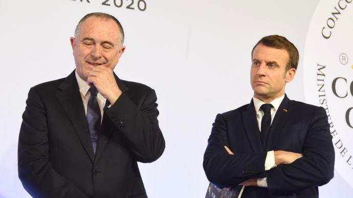Didier Guillaume et Emmanuel Macron en janvier 2020.
