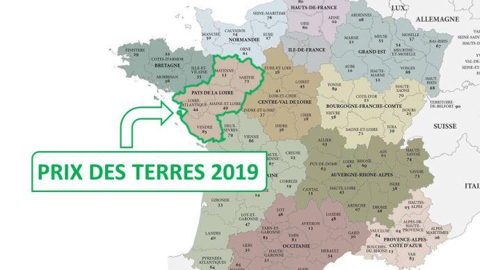 En Pays de la Loire, les prix du foncier 2019 atteignaient en moyenne 3800€ l'hectare libre