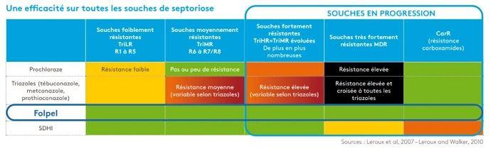 Efficacité des matières sur les souches de septoriose