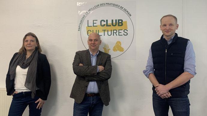 De gauche à droite: Hélène Merlin, responsable du service agronomique d'Unéal, Nicolas Debrabant, vice-président de la coopérative et du groupe Advitam, et Guillaume Boyer, directeur services, agronomie et innovation d'Unéal.