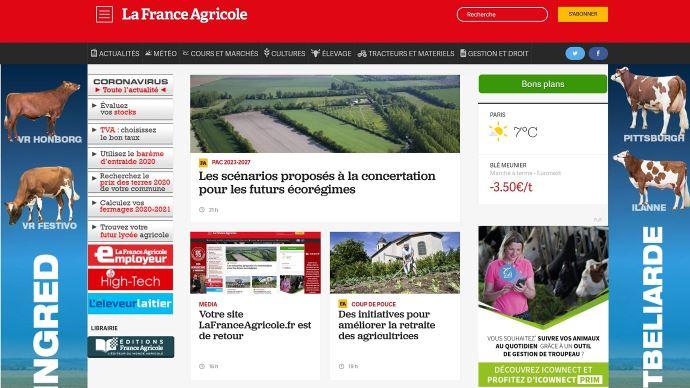 Capture d'écran du site LaFranceAgricole.fr