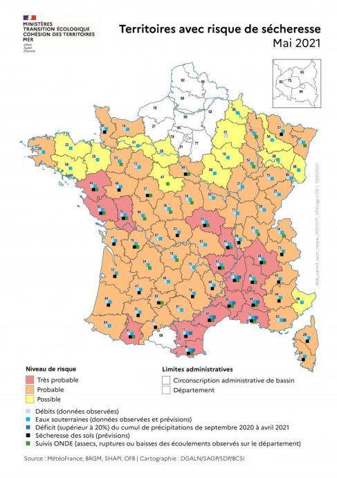 Cartographie risque de sécheresse mai 2021