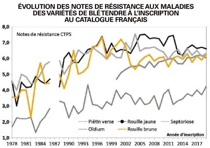 Évolution des notes de résistance aux maladies des variétés de blé tendre à l'inscription au catalogue français