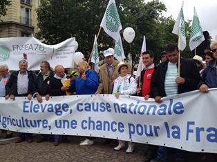 Manifestation Fnsea du 16 juin 2013 à Paris pour sauver l'élevage.