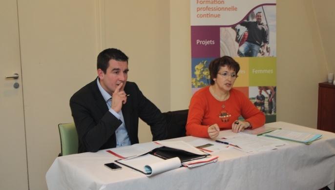 François Thabuis, président de Jeues agriculteurs et Christiane Lambert, présidente de Vivea et vice-présidente de la Fnsea.