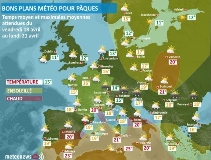 Météo à Paques en Europe