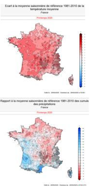 Écart à la moyenne des températures et des précipitations en France au printemps 2020