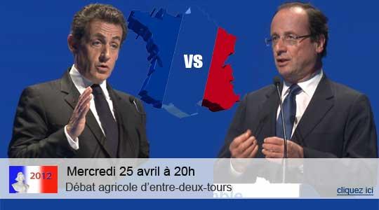 Débat d'entre deux tours Hollande Sarkozy pour la présidentielle 2012: un débat agricole sur Terre-net.fr entre les représentants des deux candidats pourl'agriculture.